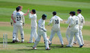 Liam Norwell celebrates the dismissal of Ed Barnard, Gloucestershire v Worcestershire, County Championship, Division Two, Bristol, 3rd day, April 26, 2015