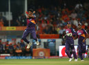 Ashok Dinda celebrates David Warner's wicket, Sunrisers Hyderabad v Rising Pune Supergiants, IPL 2016, Hyderabad, April 26, 2016
