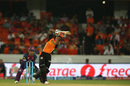 Shikhar Dhawan lofts the ball down the ground, Sunrisers Hyderabad v Rising Pune Supergiants, IPL 2016, Hyderabad, April 26, 2016