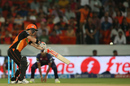 David Warner cuts straight to point for a fourth-ball duck, Sunrisers Hyderabad v Rising Pune Supergiants, IPL 2016, Hyderabad, April 26, 2016
