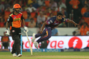 Thisara Perera follows through after a delivery, Sunrisers Hyderabad v Rising Pune Supergiants, IPL 2016, Hyderabad, April 26, 2016