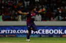 Ashok Dinda celebrates after bowling Naman Ojha, Sunrisers Hyderabad v Rising Pune Supergiants, IPL 2016, Hyderabad, April 26, 2016