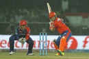 Brendon McCullum takes a stride forward as he prepares for an almighty swing, Delhi Daredevils v Gujarat Lions, IPL 2016, Delhi, April 27, 2016