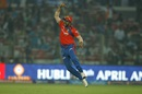Suresh Raina took a catch at cover to dismiss Quinton de Kock, Delhi Daredevils v Gujarat Lions, IPL 2016, Delhi, April 27, 2016