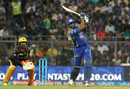 Kieron Pollard powers a six over long-on, Mumbai Indians v Kolkata Knight Riders, IPL 2016, Mumbai, April 28, 2016