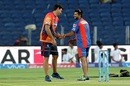 Former CSK mates catch up - Rising Pune Supergiants coach Stephen Fleming and Gujarat Lions captain Suresh Raina share a lighter moment, Rising Pune Supergiants v Gujarat Lions, IPL 2016, Pune, April 29, 2016