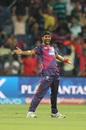 Ashok Dinda celebrates after picking up a wicket, Rising Pune Supergiants v Gujarat Lions, IPL 2016, Pune, April 29, 2016