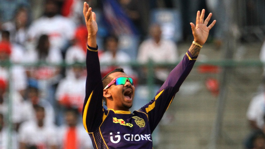 Sunil Narine appeals successfully for the wicket of Sanju Samson