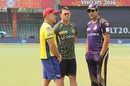 Paddy Upton, Jacques Kallis and Wasim Akram have a word before the match, Delhi Daredevils v Kolkata Knight Riders, IPL 2016, Delhi, April 30, 2016