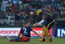 Chris Morris throws the ball to the non-striker's end even as Robin Uthappa checks on him, Delhi Daredevils v Kolkata Knight Riders, IPL 2016, Delhi, April 30, 2016