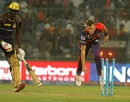 Chris Morris runs out Jason Holder on his follow-through, Delhi Daredevils v Kolkata Knight Riders, IPL 2016, Delhi, April 30, 2016