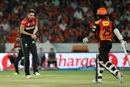 Kane Richardson completes a return catch to dismiss Shikhar Dhawan, Sunrisers Hyderabad v Royal Challengers Bangalore, IPL 2016, Hyderabad, April 30, 2016