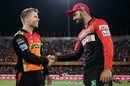 David Warner and Virat Kohli greet each other at the toss, Sunrisers Hyderabad v Royal Challengers Bangalore, IPL 2016, Hyderabad, April 30, 2016