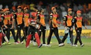 David Warner leads Sunrisers Hyderabad off the field after completing a 15-run win, Sunrisers Hyderabad v Royal Challengers Bangalore, IPL 2016, Hyderabad, April 30, 2016
