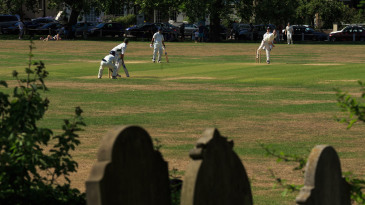 A general view of the match action as Kew Cricket Club's Sunday XI side take on Lord Gnome's at the Kew Cricket Club