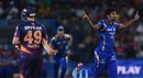 Jasprit Bumrah celebrates after dismissing Steven Smith, Rising Pune Supergiants v Mumbai Indians, IPL 2016, Pune, May 1, 2016