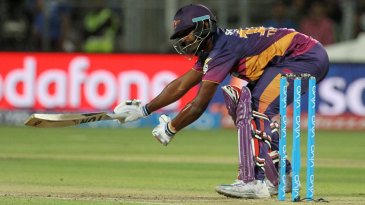 Thisara Perera reaches for a wide delivery
