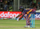Thisara Perera reaches for a wide delivery, Rising Pune Supergiants v Mumbai Indians, IPL 2016, Pune, May 1, 2016