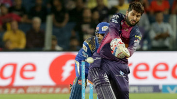 Saurabh Tiwary launches one into the leg side