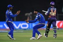 Ambati Rayudu and Harbhajan Singh celebrate a wicket, Rising Pune Supergiants v Mumbai Indians, IPL 2016, Pune, May 1, 2016