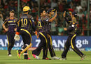Piyush Chawla and his team-mates celebrate the wicket of AB de Villiers, Royal Challengers Bangalore v Kolkata Knight Riders, IPL 2016, Bangalore, May 2, 2016