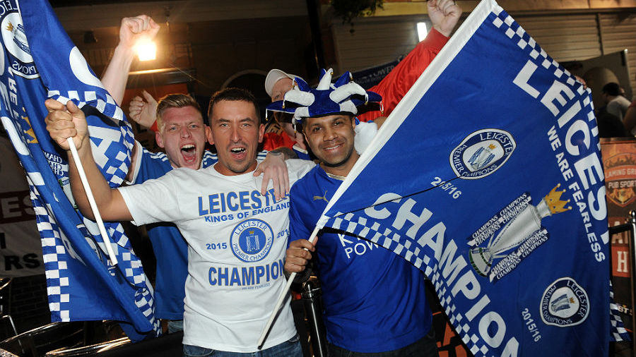 Leicester City fans celebrate Premier League victory