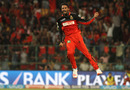 S Aravind jubilates after trapping Gautam Gambhir lbw, Royal Challengers Bangalore v Kolkata Knight Riders, IPL 2016, Bangalore, May 2, 2016