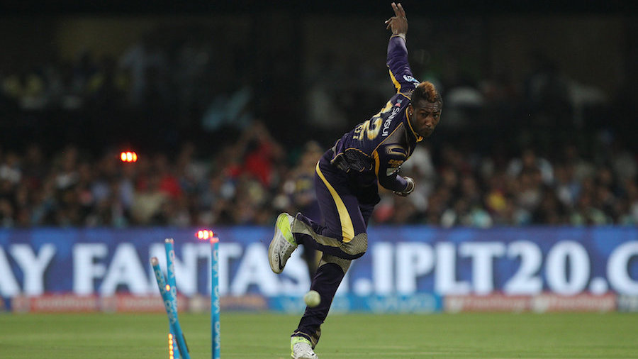 Andre Russell shatters the stumps