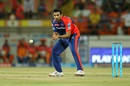 Zaheer Khan fields the ball off his own bowling, Gujarat Lions v Delhi Daredevils, IPL 2016, Rajkot, May 3, 2016