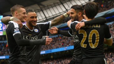 Leicester City players celebrate a goal