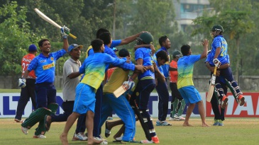 Abahani Limited celebrate their final-over victory over Brothers Union