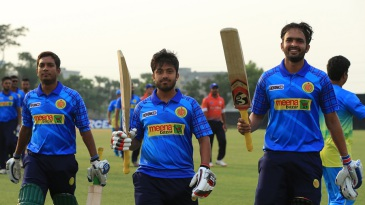 Jubair Hossain (middle) and Saqlain Sajib (right) strung a match-winning 31 runs for the ninth wicket
