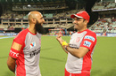 Hashim Amla has a chat with Virender Sehwag, Kolkata Knight Riders v Kings XI Punjab, IPL 2016, Kolkata, May 4, 2016