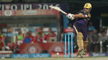 Gautam Gambhir pulls powerfully towards the square leg boundary