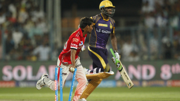 Sandeep Sharma runs out Andre Russell off the last ball of the innings