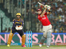 Glenn Maxwell sends a lofted cover drive into the stands, Kolkata Knight Riders v Kings XI Punjab, IPL 2016, Kolkata, May 4, 2016