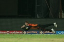 David Warner shows his acrobatic side as he takes a catch to dismiss Brendon McCullum, Sunrisers Hyderabad v Gujarat Lions, IPL 2016, Hyderabad, May 6, 2016