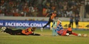 David Warner attempts a run out of Aaron Finch, Sunrisers Hyderabad v Gujarat Lions, IPL 2016, Hyderabad, May 6, 2016
