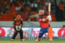 Aaron Finch slaps one through the off side, Sunrisers Hyderabad v Gujarat Lions, IPL 2016, Hyderabad, May 6, 2016