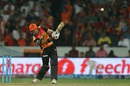 Naman Ojha hits one down the ground, Sunrisers Hyderabad v Gujarat Lions, IPL 2016, Hyderabad, May 6, 2016