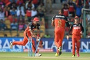 Stuart Binny breaks the stumps to catch Usman Khawaja short, Royal Challengers Bangalore v Rising Pune Supergiants, IPL 2016, Bangalore, May 7, 2016