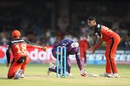Saurabh Tiwary takes cover as Virat Kohli tries to run him out, Royal Challengers Bangalore v Rising Pune Supergiants, IPL 2016, Bangalore, May 7, 2016