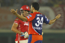 Zaheer Khan spreads his arms in celebration, Kings XI Punjab v Delhi Daredevils, IPL 2016, Mohali, May 7, 2016
