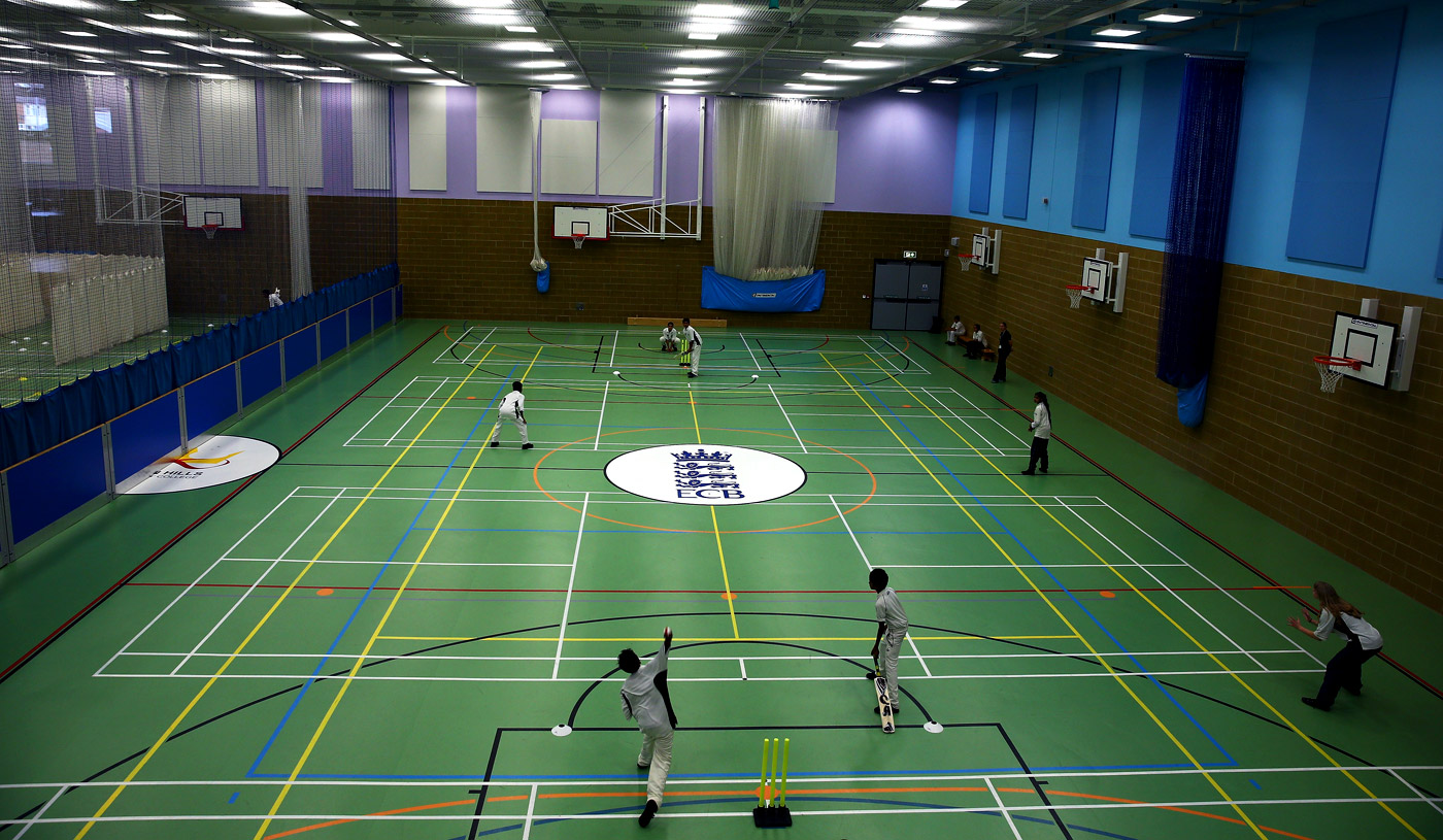 A general view of the indoor cricket facility at Crown Hills Community College in Leicester