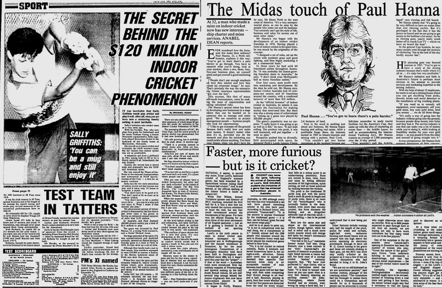 Inside story: (clockwise from left) the <i>Sydney Morning Herald</I> in 1986 reports the sport's turnover, and profiles Paul Hanna; the <i>Glasgow Herald</i> in 1985 on