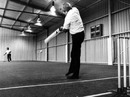 Gary Gilmour tries out the wicket at the new Cardiff Indoor Cricket centre, February 7, 1983