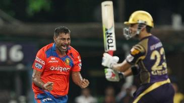 Praveen Kumar celebrates the early wicket of Gautam Gambhir