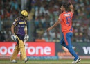 Praveen Kumar celebrates after dismissing Manish Pandey, Kolkata Knight Riders v Gujarat Lions, IPL 2016, Kolkata, May 8, 2016