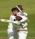 Steven Davies is congratulated on his hundred, Yorkshire v Surrey, County Championship, Division One, Headingley, 1st day, May 8, 2016