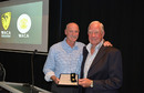 Keith Slater, a former Western Australia allrounder and Test player, receives an honorary life membership of the WACA from Dennis Lillee, 2013